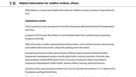 Helpful information for wildfire victims, others