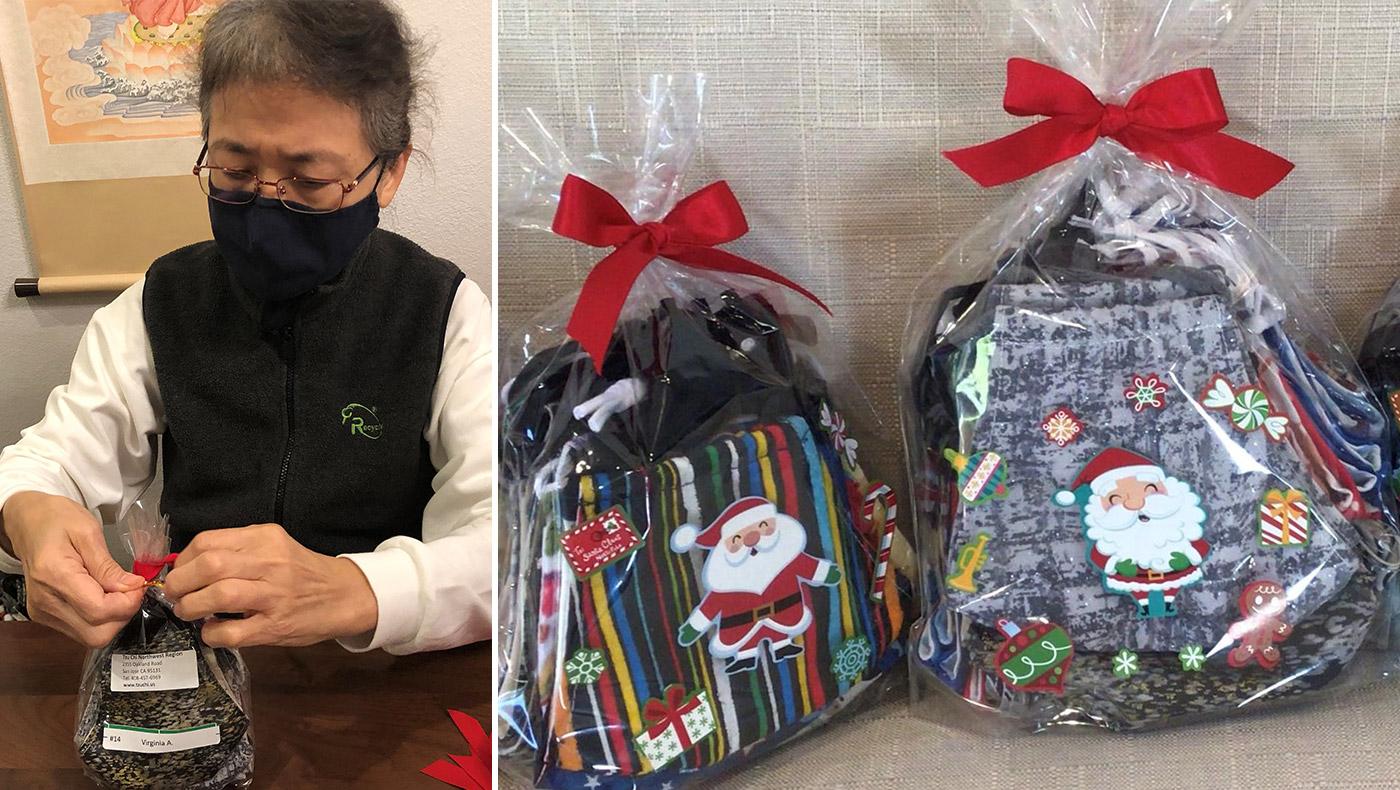 志工梁錦綢(Ching Chou Liang)把做好的口罩根據每個家庭的人數及年紀選擇大小合適的口罩包裝起來,在袋上貼上個案家庭的名字及編號。攝影/姚姿妃