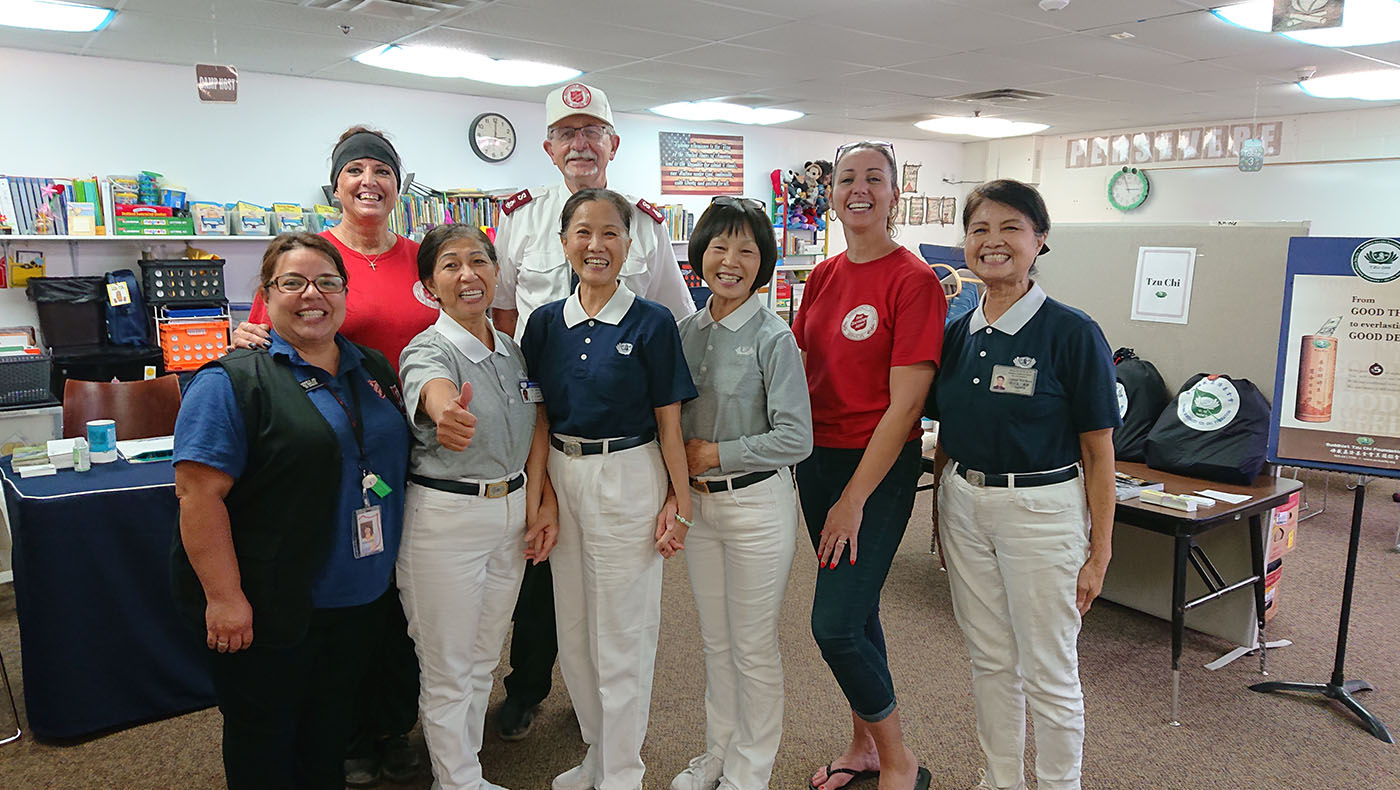 The American Red Cross, Salvation Army, and other state and county government agencies collaborate to provide care and support to wildfire survivors. Photo/courtesy of Tzu Chi Phoenix Service Center