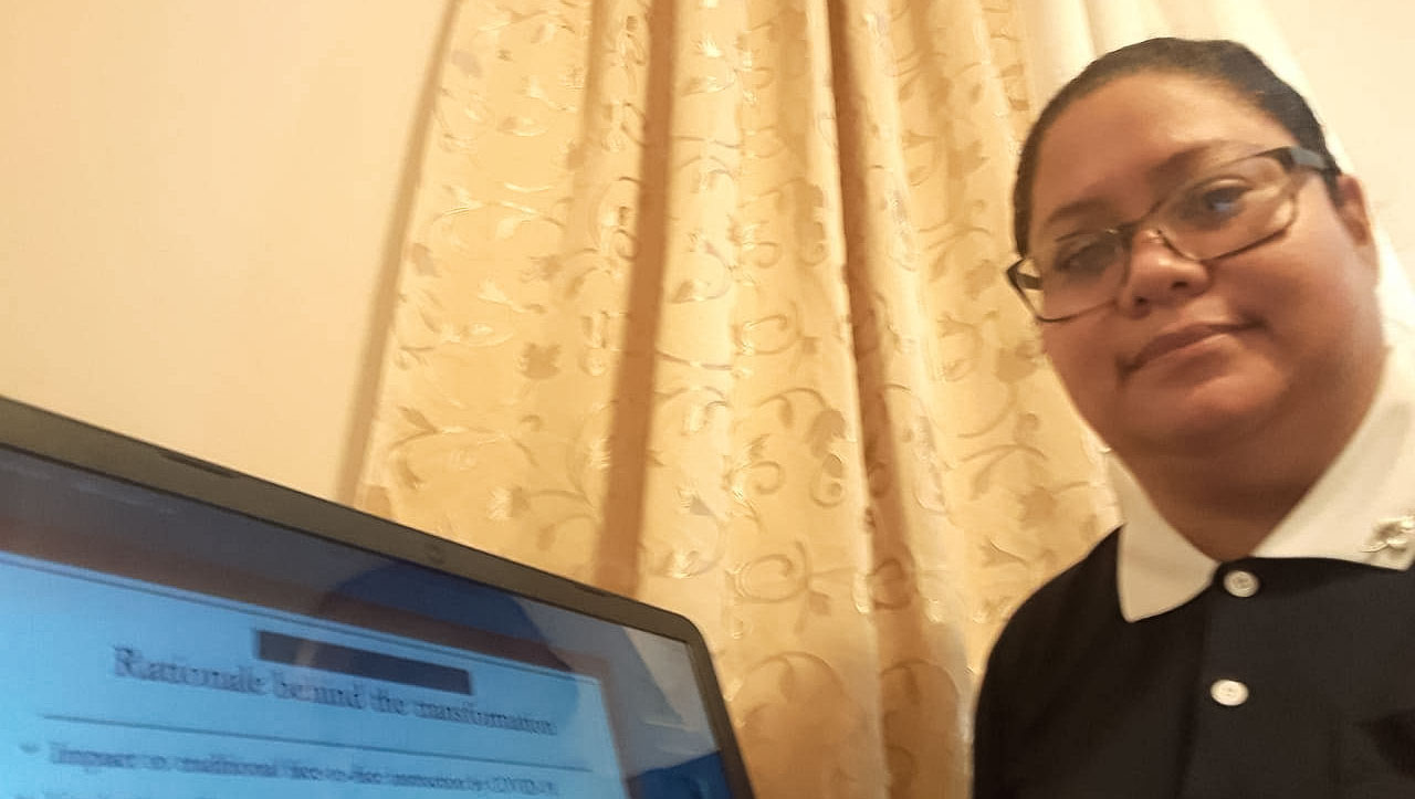 Teachers can participate in the training remotely from home. Photo/Courtesy of Tzu Chi Education Foundation
