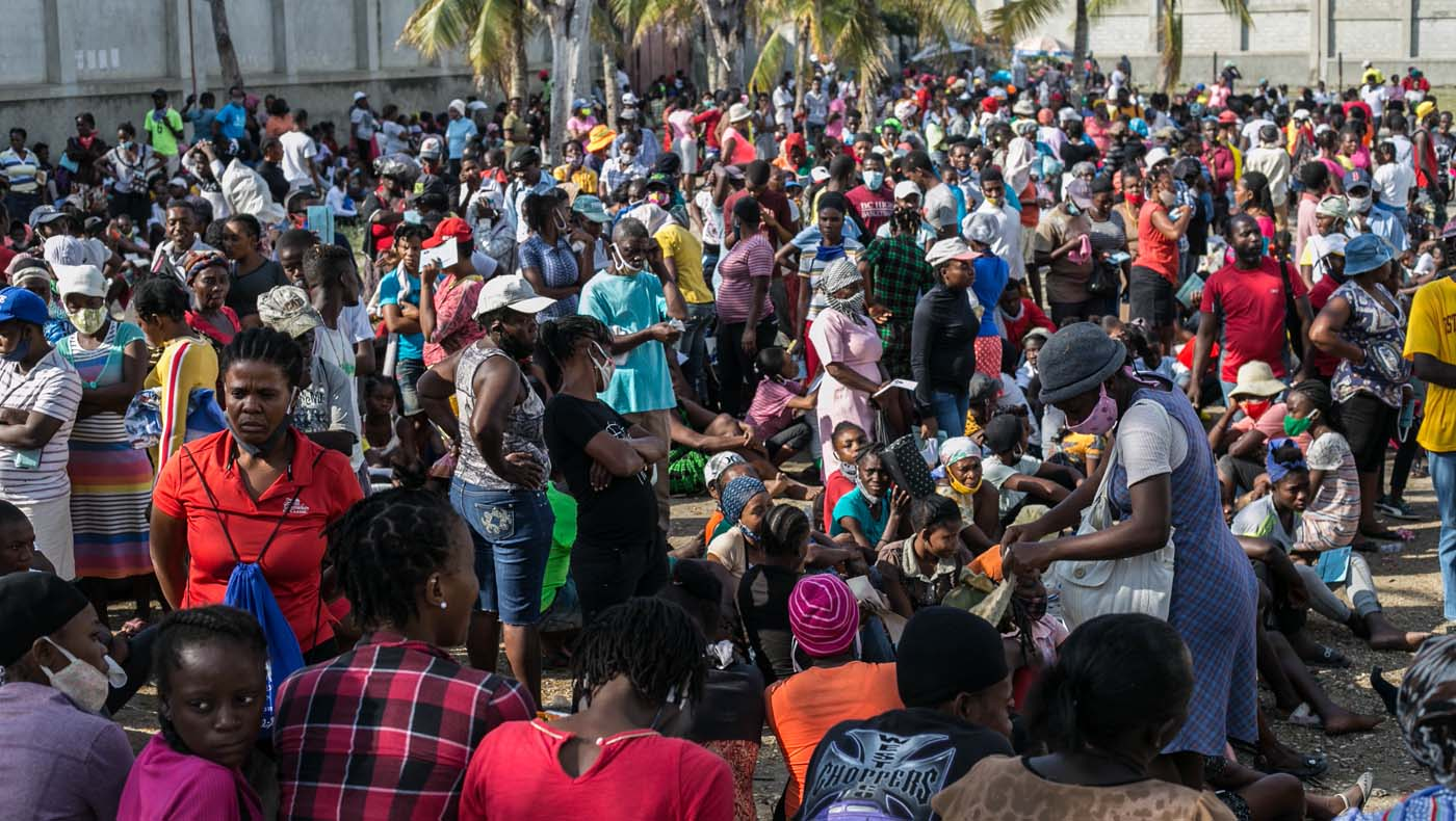 More than three thousand people assemble at the comprehensive school. Photo/Keziah Jean
